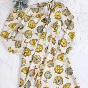 Vintage Handmade Globe Satin Geography Midi Dress